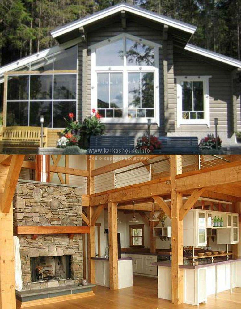 Внешний и внутренний вид дома возведенного по каркасной технологии строительства