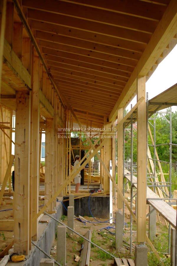Строительство крыши террасы. Планировка стропилизлиственницы