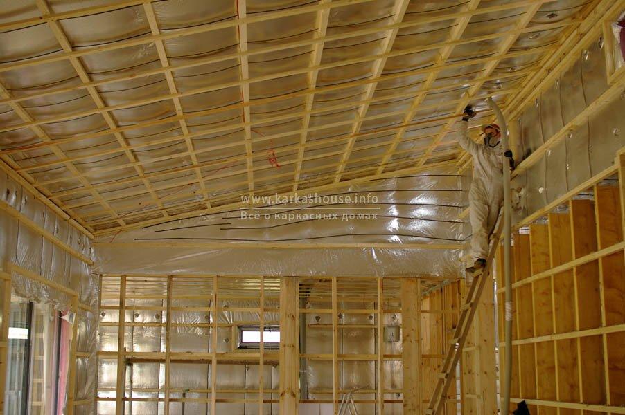 изоляция крыши эковатой Thermofloc