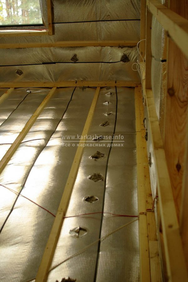 деревянный пол, утепленный эковатой Thermofloc