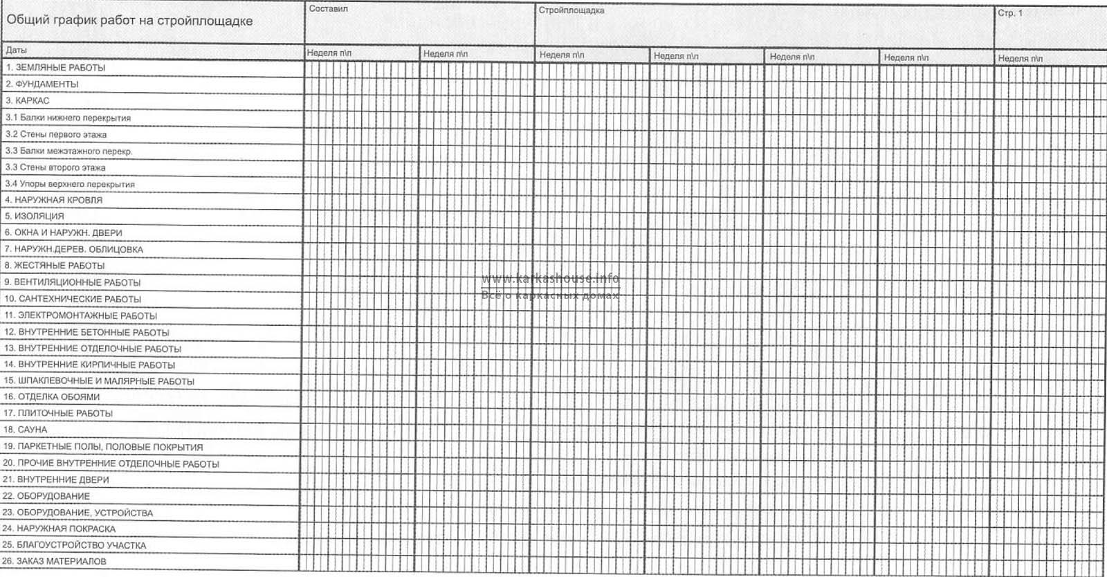 общий график организации строительно монтажных работ