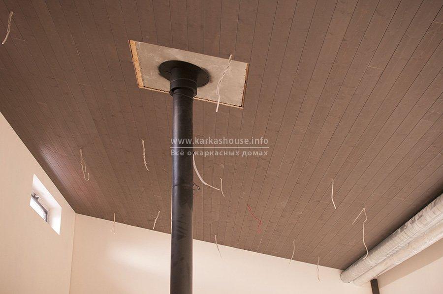 окрашенные деревянные панели на потолке