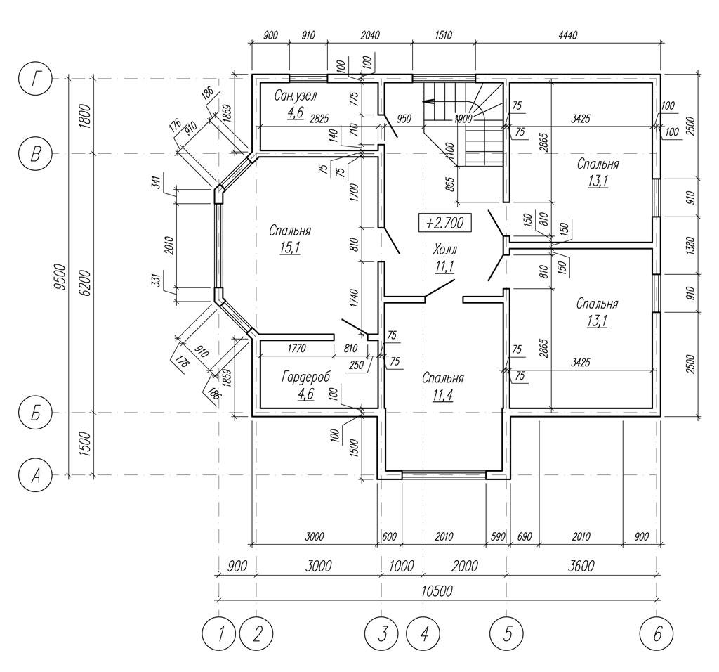 проект 2-го этажа каркасного дома