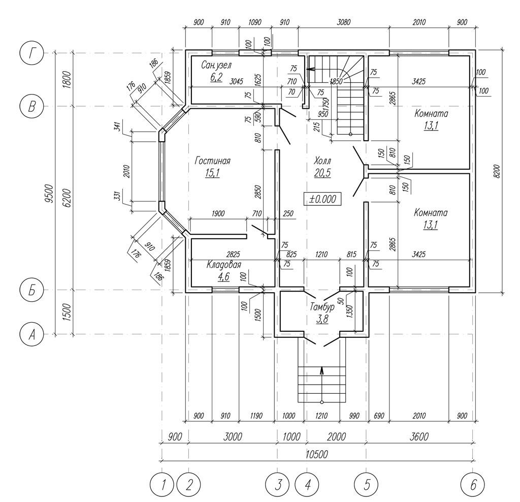 проект 1-го этажа каркасного дома