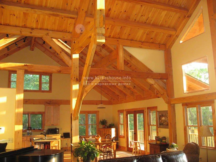 деревянные панели в интерьере каркасного дома для постоянного проживания