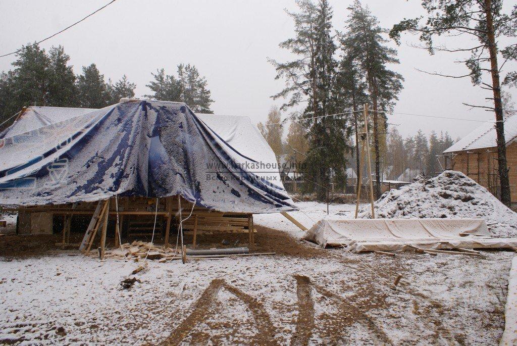 каркасный дом 6х8, стройка ушла в зиму