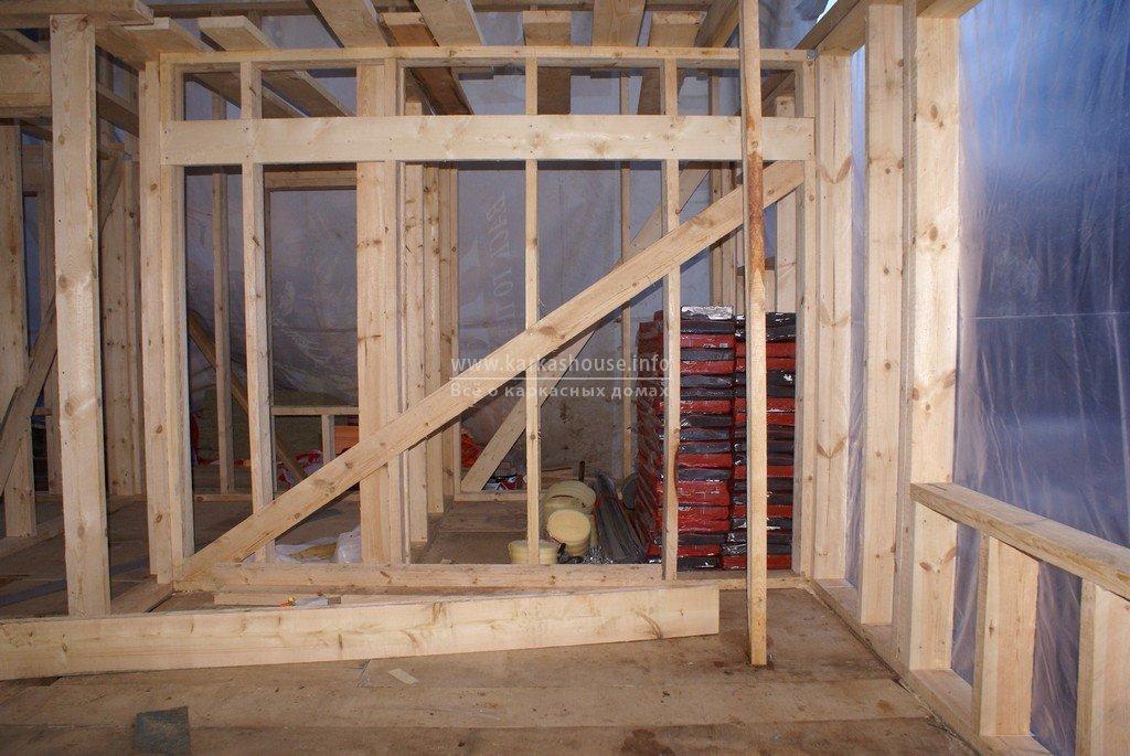 монтаж стен каркасного дома 6х8