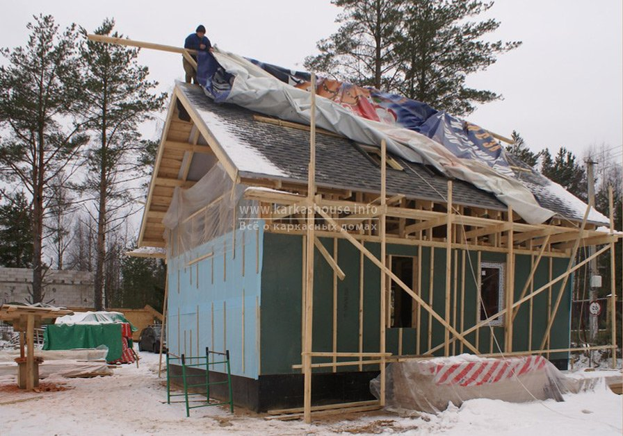 Ветроизоляция каркасного дома 6х8 изоплаатом