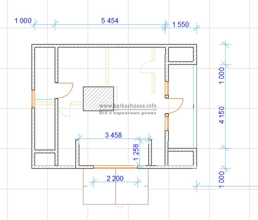 проект каркасного дома 6х8 2-й этаж