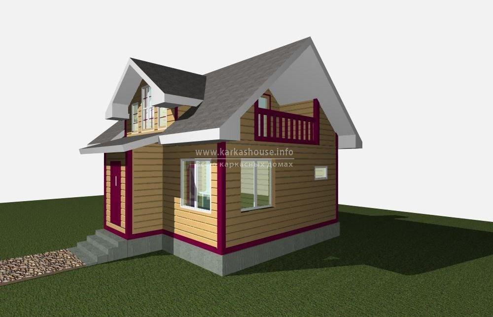 проект каркасного дома 6х8 общий вид