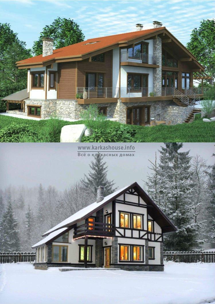 Проекты каркасно щитовых домов с гаражом