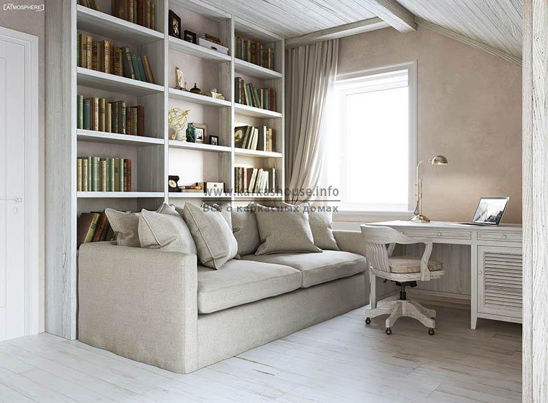 книжный шкаф в мансардном помещении